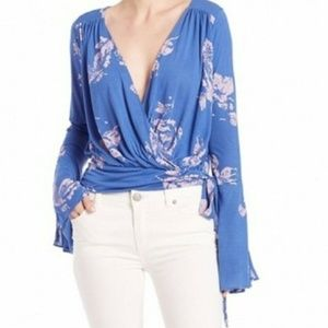 Free People Fiona Blue Floral Bell Sleeve Top